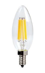 6 E12 LED-lysestakepærer C35 6 COB 600 lm Varm hvit Dimbar / Vanntett AC 110-130 V 1 stk.