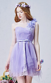 Short/Mini Tulle Bridesmaid Dress-Blushing Pink / Lavender / Champagne A-line One Shoulder