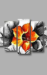"""estirada (listo para colgar) pintura al óleo 60 """"x36"""" flores modernas pared de lona de arte de color naranja y negro pintado a mano"""