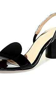 Черный / Белый-Женская обувь-Для праздника / На каждый день / Для вечеринки / ужина-Кожа-На толстом каблуке-На каблуках / С открытым