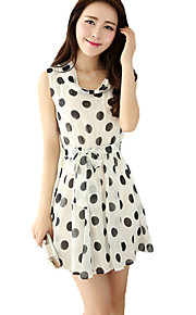 Women's Punk & Gothic Polka Dot Swing Dress,Round Neck Above Knee Rayon / Polyester