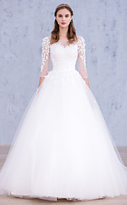 A-line Wedding Dress-White Sweep/Brush Train Bateau Lace