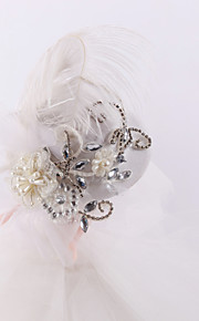 Women's / Flower Girl's Feather / Rhinestone / Tulle Headpiece-Wedding / Special Occasion Fascinators 1 Piece