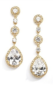 Vintage Women's  Earrings Crystal Zircon Diamond  Gold Earring For Wedding Bridal