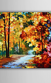 Hand-Painted Abstract / Famous / Landscape / Abstract Landscape Modern / European Style Oil Painting , Canvas One Panel