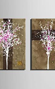 핑크 순수 손의 전체 미니 사이즈 전자 홈 유화 현대 나무는 틀 장식 그림을 그립니다