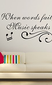 AYA™ DIY Wall Stickers Wall Decals,  Music English Words & Quotes PVC Wall Stickers