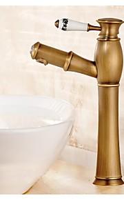 Vannrett Montering Enkelt Håndtak Et Hull in Antikk Messing Bathroom sink tappekran