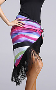 Latin Dance Hip Scarves Women's Performance Viscose Tassel(s) 1 Piece Black / Multi-color