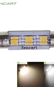 39 millimetri cupola 9LED 4014smd 3W bianco caldo / freddo auto bianca interno lampada lampadina DC12V (2 pezzi)