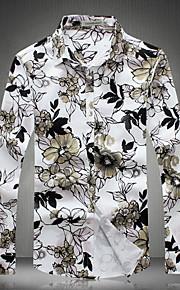 Camicia Uomo Casual Fantasia floreale Manica lunga Nylon