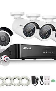 annke® 4 canais HD 1.3 MP rede doméstica sistema de kit câmera de segurança IP 960p NVR poe ao ar livre