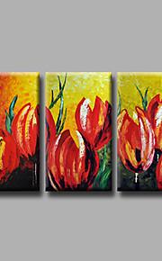 """estirada (listo para colgar) pintura al óleo pintado a mano 48 flores modernas """"x28"""" arte de la pared de la lona tulipanes rojos"""