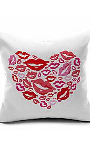 Love Hot Kiss Cotton/Linen Pillow Cover , Nature Modern/Contemporary  Pillow Linen Cushion