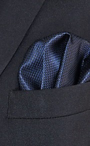 Men's Pocket Square Navy Blue Solid 100% Silk Wedding Business