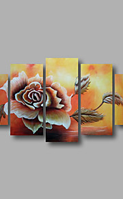 "Stretched (ready to hang) Hand-painted Oil Painting 60""x36"" Canvas Wall Art Modern Flowers Roses Brown"