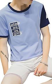 남성의 캐쥬얼 티셔츠 짧은 소매 프린트 면