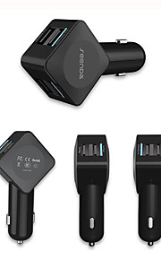 54W 4-port usb bil oplader med hurtig opladning 2.0 og mikro USB-kabel til Samsung, nexus, iphone og flere 1 stk