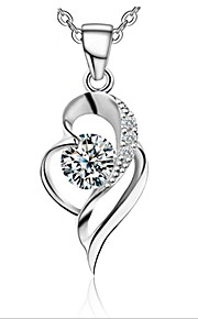 Real 925 Silver Clavicle Link Chain Austrian Rhinestone Crystal Double Heart Pendant Necklace Women Nice Jewelry
