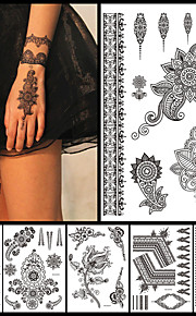6PCS Black Ink Temporary Tattoo 2016 New Women Men Fashion Body Back Art Tattoo Sticker