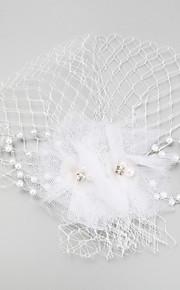 Dame / Blomsterpige Fjær / Imitert Perle / Nett Headpiece Bryllup / Spesiell Leilighet fascinators Bryllup / Spesiell Leilighet 1 Deler