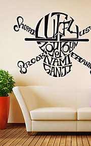 Words & Quotes / Fashion English Alphabet Skull Wall Decals Vintage / Fantasy / 3D Wall Stickers Plane Wall Stickers,