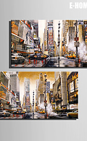 E-HOME® Stretched Canvas Art Busy Street Decoration Painting  Set of 2