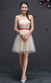 Short/Mini Tulle Bridesmaid Dress-Blushing Pink / Lilac / Champagne / Sky Blue A-line Sweetheart