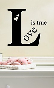 New Romantic Vinyl Removable Love Is Ture Letter Quotes Wall Stickers Mural Decal Art Living Room Wall Decoration