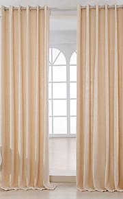 Deux Panneaux Moderne Solide Beige Chambre à coucher Métissé Lin et Polyester Panneau Rideaux rideaux