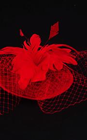 Женский Свадьба / Особые случаи / На каждый день / на открытом воздухе Заставка Перья / Лен / Сеть ВуалеткиСвадьба / Особые случаи / На
