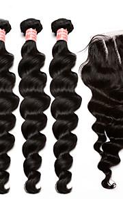 pelo virginal malasio con cierre de 5x5 onda floja extensiones de cabello humano con una calidad superior del cierre 4pcs