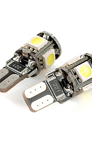 exLED T10 1W 80lm 5-SMD 5050 LED White Light Car Clearance lamp (12V / Pair)