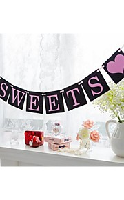 Black Sweets Banner Bunting For Wedding Party Dessert Table Decoration With Pink Ribbon