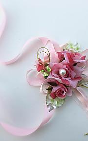 Exquisite Rose Silk Bride Wedding Wrist Corsages