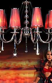 220V Max 40W Crystal Chandelier/ Romantic Pendant Light/Electroplated Metal/Bedroom / Red Lampshade/8 Lights