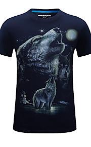 Camiseta De los hombres Casual / Deporte Estampado-Algodón / Acrílico-Manga Corta