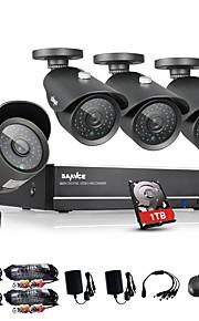 sannce® 8-kanaals 960H dvr 4 stuks 1000tvl ir weerbestendig outdoor cctv camera binnenlandse veiligheid surveillance kits CCTV-systeem