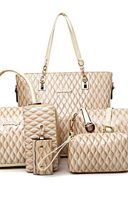 Women-Formal / Casual / Office & Career / Shopping-PU-Tote-White / Blue / Brown / Red / Black / Burgundy