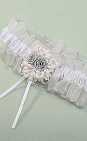 Garter Polyester Blomst Hvit
