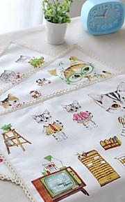 """4 stuks placemats pakken komische kat katoen wasbaar mode patroon 11.8 """"met 12,6"""""""