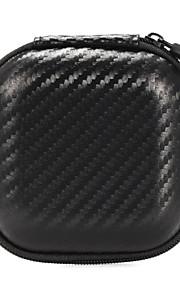 draagbare mini hoofdtelefoon zakjes gevallen vierkante snakeskin eva oordopjes oortelefoon draagtassen 8,5 * 8,5 * 4 cm zwart