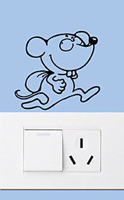 Wall Stickers Wall Decals Style Running Little Mouse Switch PVC Wall Stickers
