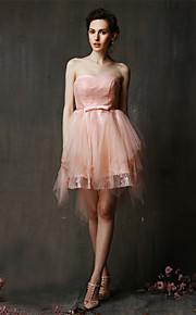 Asymmetrical Lace / Tulle Bridesmaid Dress-Blushing Pink / Champagne A-line Sweetheart