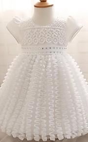 Robe de Demoiselle d'Honneur Fille-Trapèze Mi-long Manches Courtes Organza