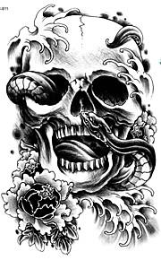 21*15cm Large Big Tattoo Sticker Halloween Horror Skull Black Designs Temporary Tattoo Skeleton Snake Flower