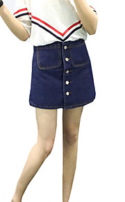 Women's Solid High Rise Classic All Match  Denim A Line Skirts,Vintage / Casual / Day Above Knee