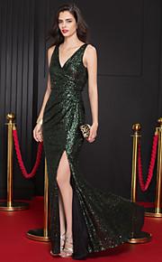 Официальный вечер Платье - Темно-зеленый Русалка V-образный вырез С коротким шлейфом Пайетки