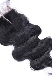 Brasilian suora pitsi sulkemisen luonnollinen väri 100% neitsyt hiuksista sulkeminen vapaa / keski / 3 osa pitsi sulkemiseen