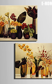 E-HOME® Stretched Canvas Art Flowers In A Vase Decoration Painting  Set of 2